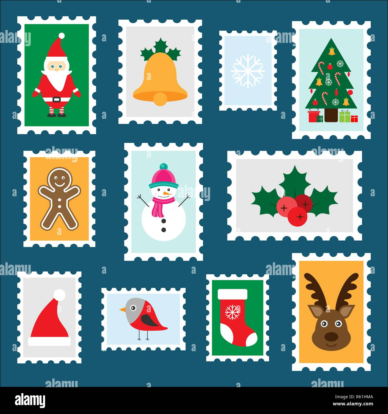 Different colorful christmas stamps for children, fun preschool activity for kids, letter to Santa Claus, set of stickers, vector Stock Vector