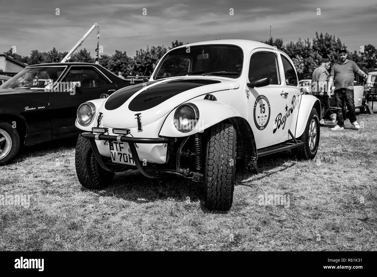 PAAREN IM GLIEN, GERMANY - MAY 19, 2018: A Baja Bug is an original Volkswagen Beetle modified to operate off-road. Black and white. Exhibition 'Die Ol - Stock Image