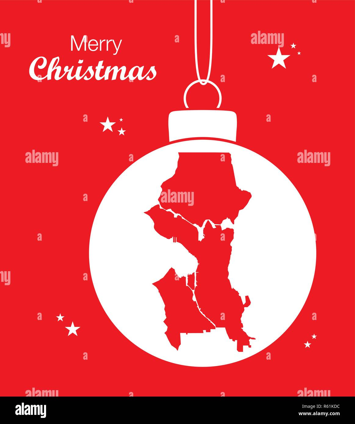 Merry Christmas illustration theme with map of Seattle Washington - Stock Vector