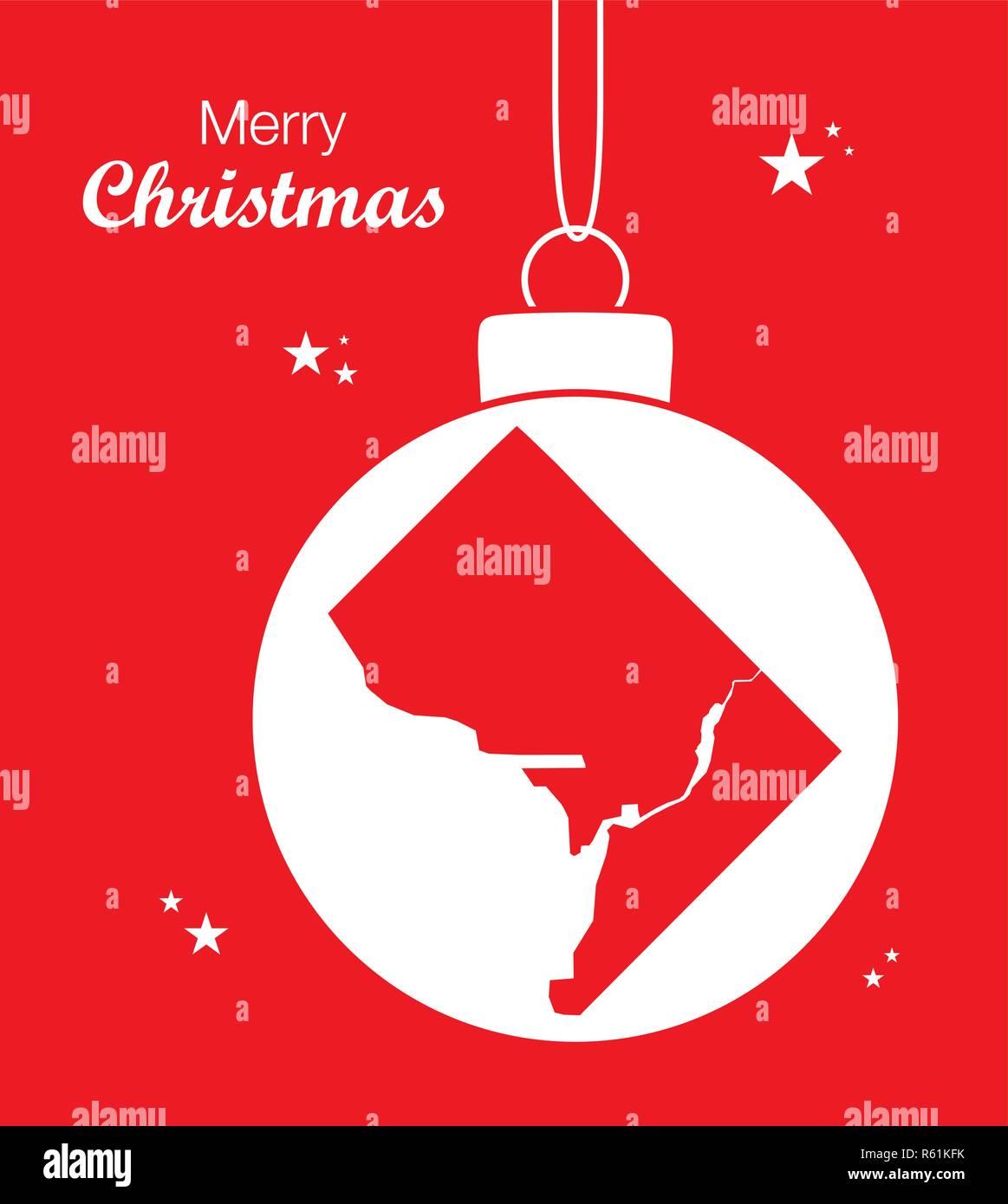 Merry Christmas illustration theme with map of Washington DC - Stock Vector