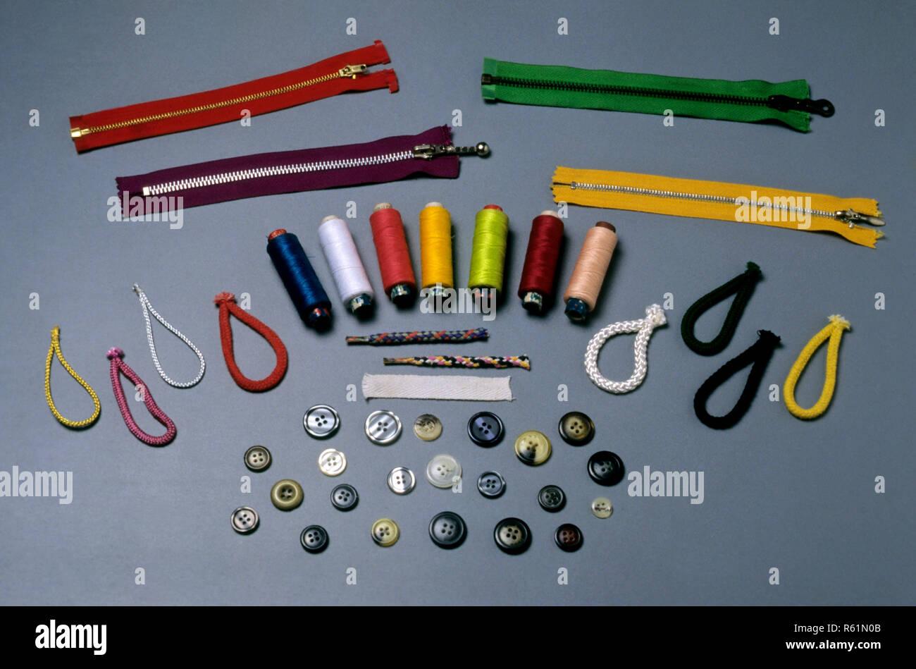 Concept, Buttons, bobbin thread balls, Tailoring - Stock Image