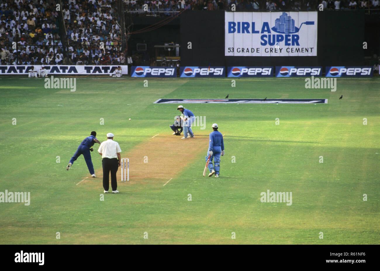 Cricket match at Wankhede, Mumbai, Maharashtra Stock Photo