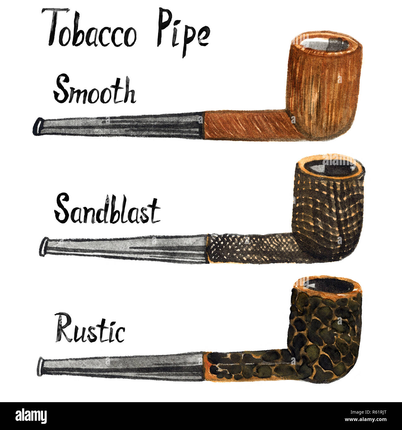Tobacco Pipes Types (briar processing) set smooth, sandblast and rustic, isolated hand painted watercolor illustration with handwritten inscription - Stock Image