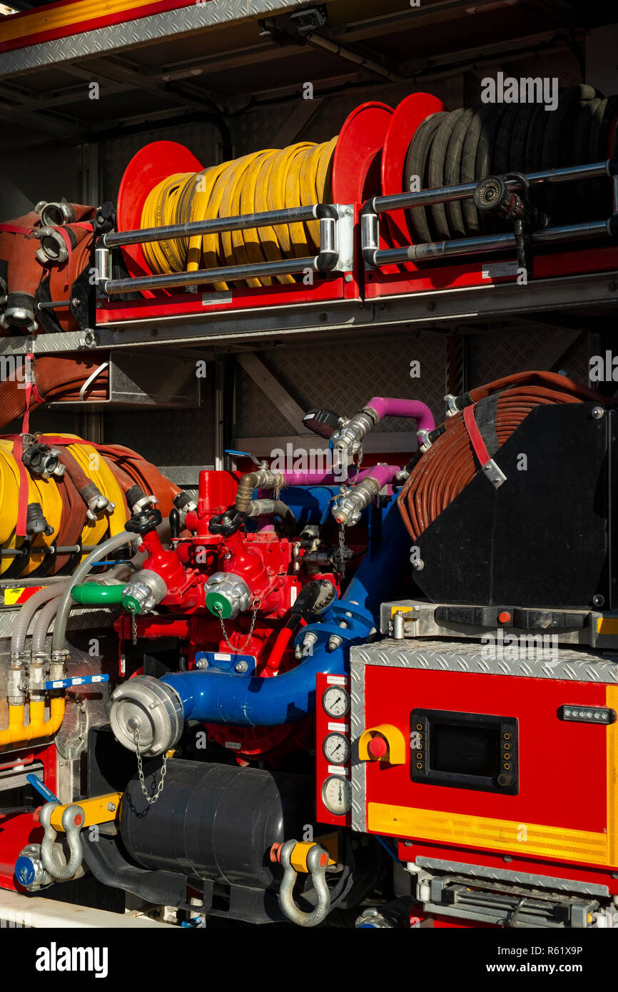 Detail of the gauges and dials on a large fire truck, Alicante, Costa Blanca, Spain - Stock Image