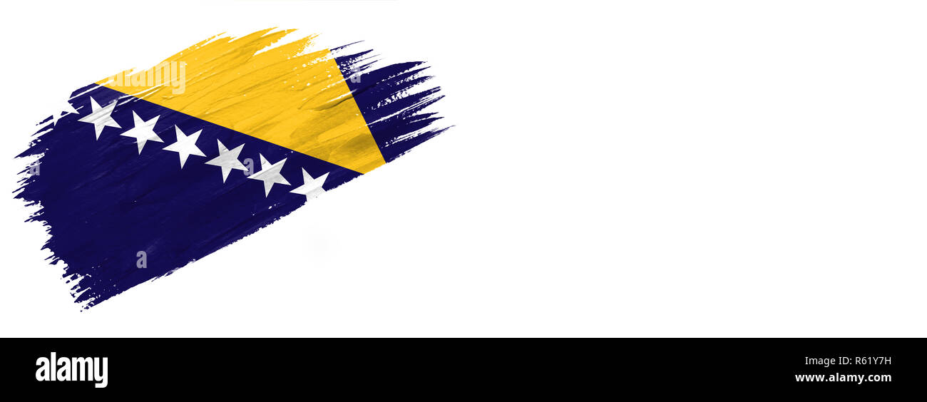 brushes painted flag. Hand-drawn style flag of Bosnia and Herzegovina isolated on white background with place for text. - Stock Image