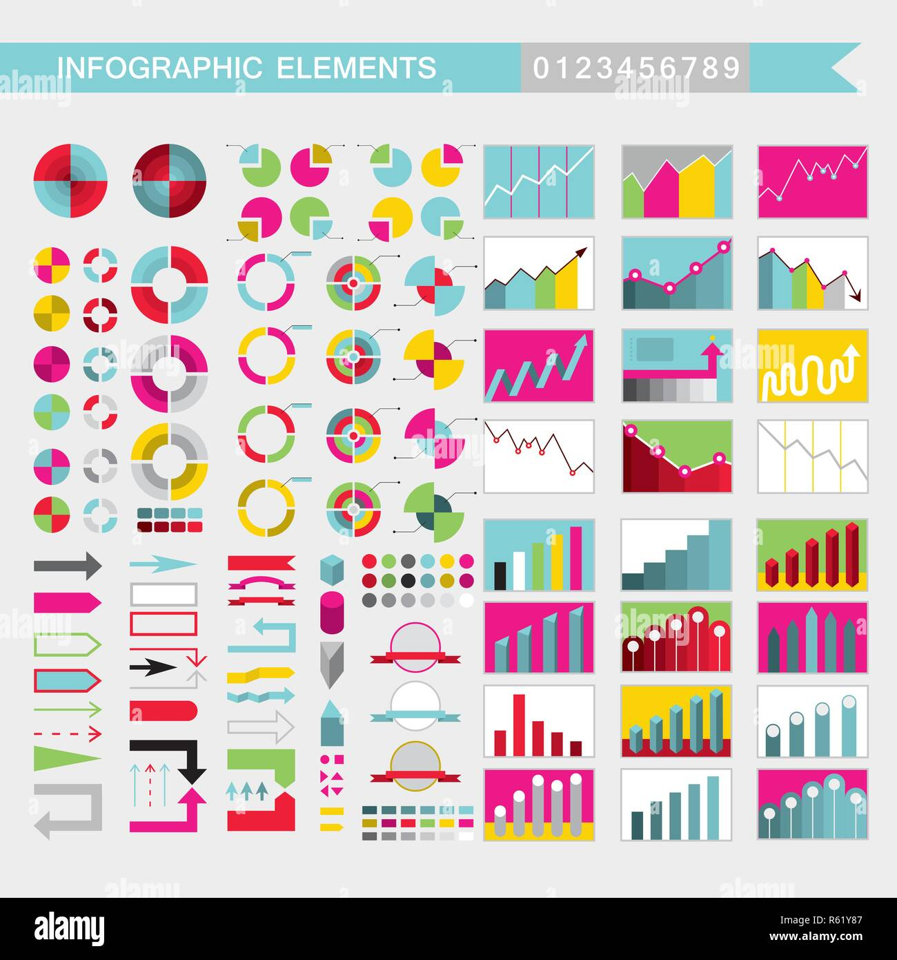 Set of colorful infographic elements charts, graph, diagram ...