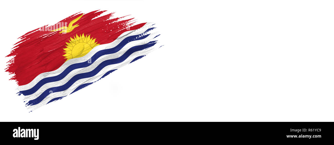 brushes painted flag. Hand-drawn style flag of Kiribati isolated on white background with place for text. - Stock Image