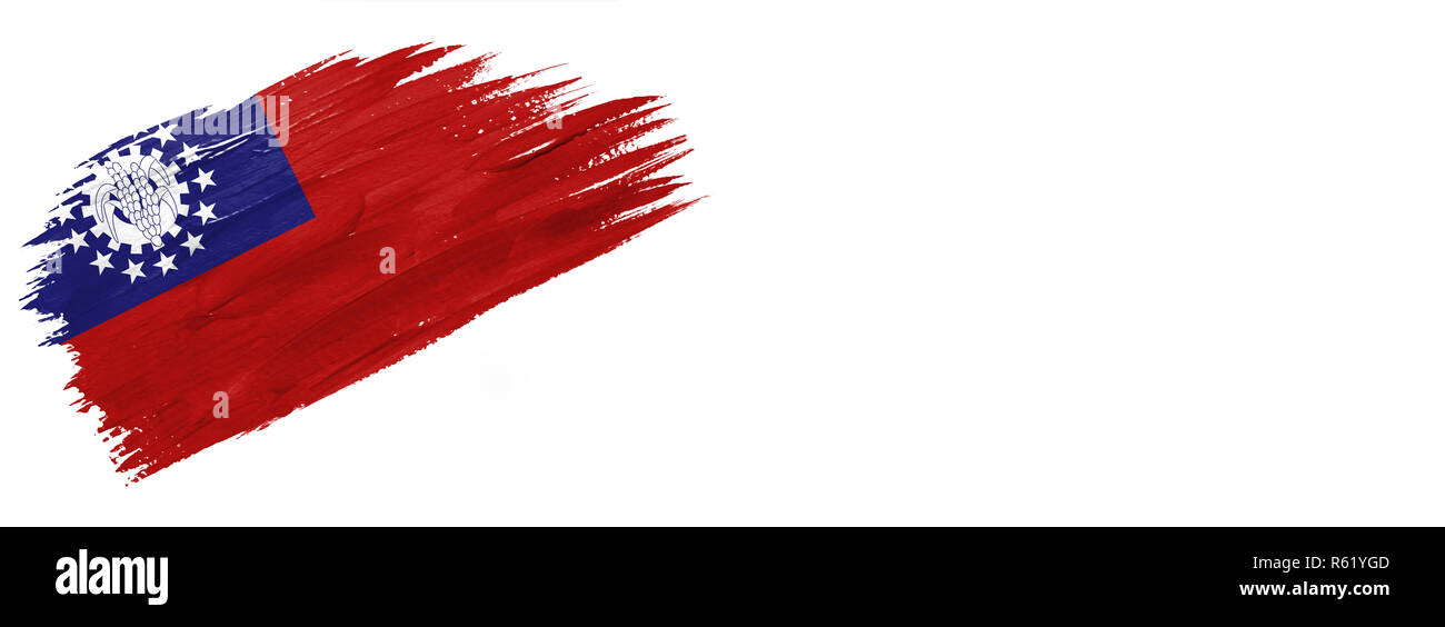 brushes painted flag. Hand-drawn style flag of Myanmar-Burma isolated on white background with place for text. - Stock Image