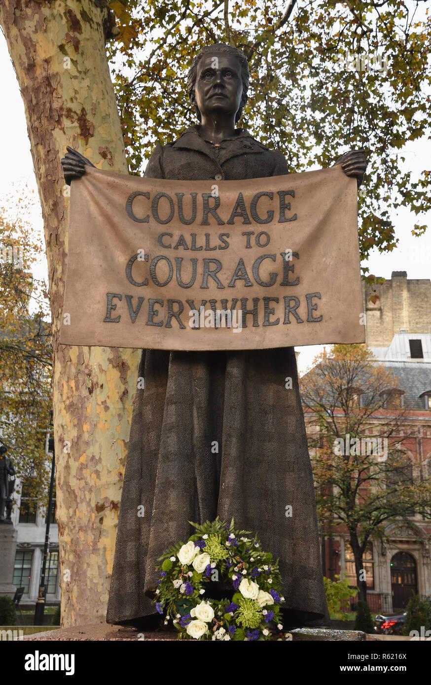 Millicent Fawcett,Suffragette Stature,Parliament Square,London.UK - Stock Image