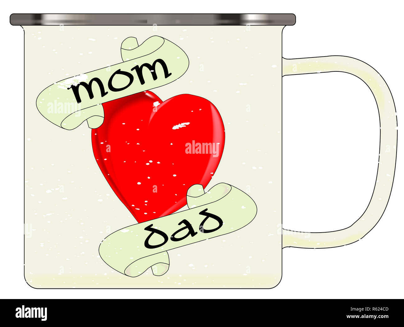 Mottle Stock Photos Images Alamy Mom N Bab Long Tee White Plain A Typical Enamel Tin Cup With Fx And Dad Red Heart