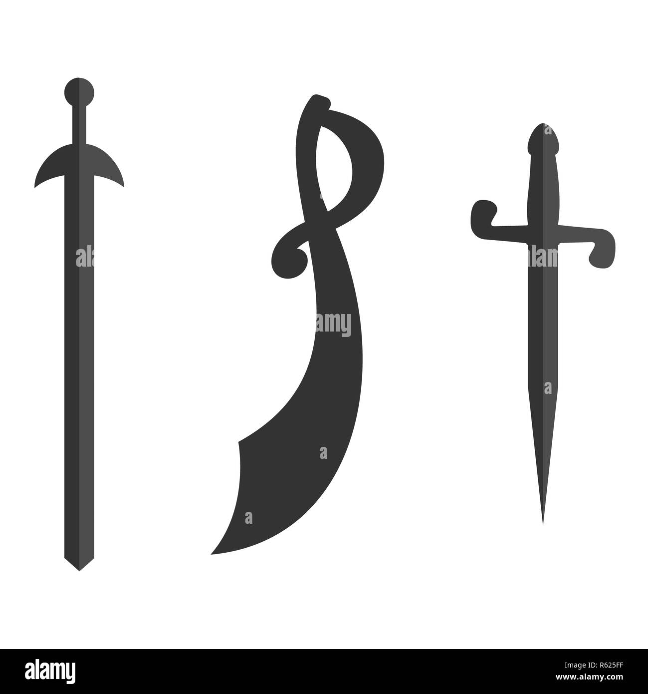 Set of historical swords saber silhouettes. Illustration with vector slashing weapons. Cavalry sword, sabre on a white background. - Stock Image