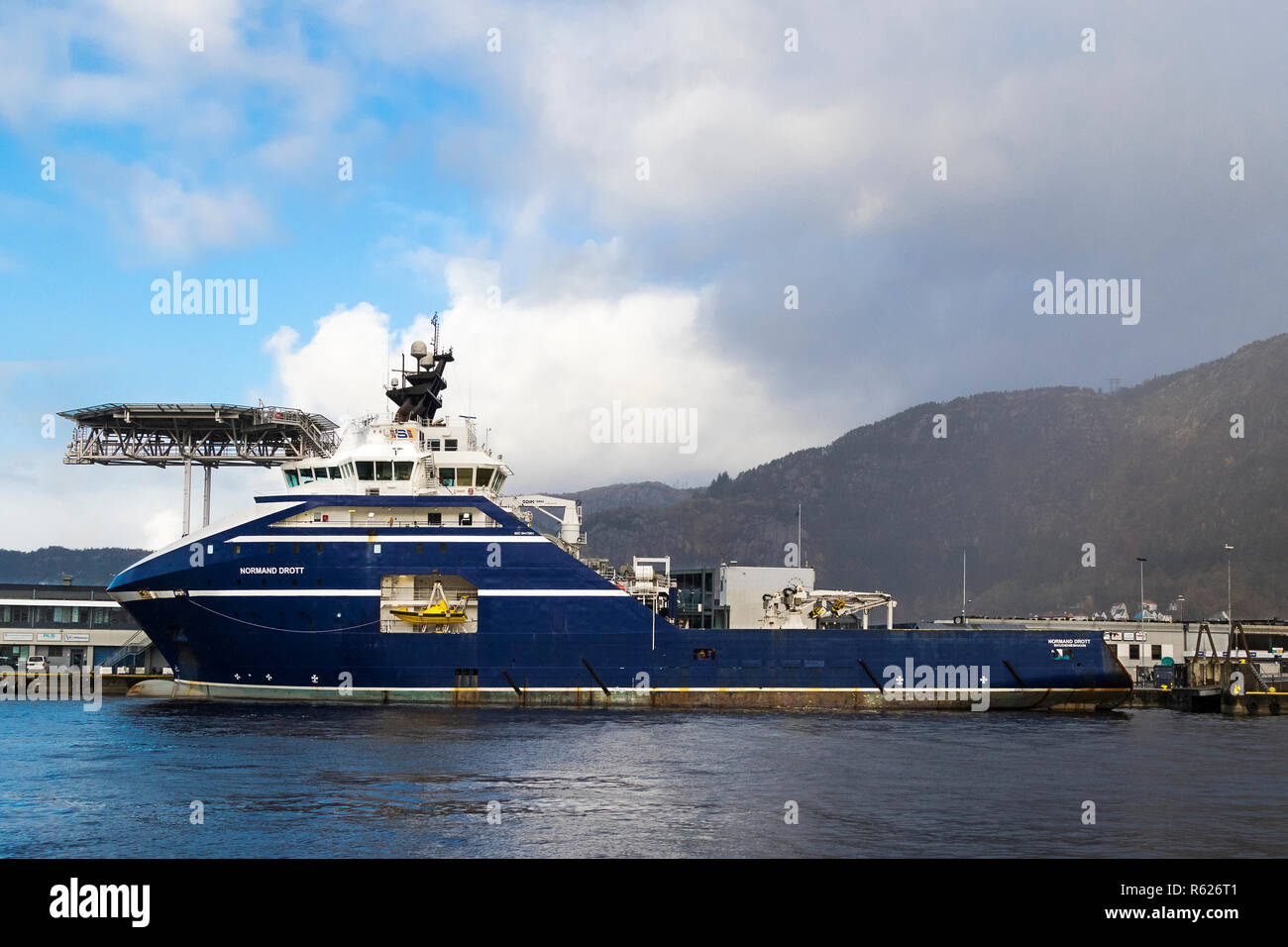 Offshore anchor handling tug supply vessel (AHTS) Normand Drott in the port of Bergen, Norway Stock Photo