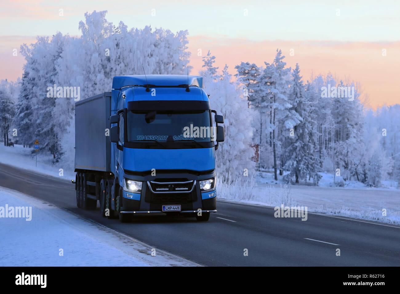 Salo, Finland - January 19, 2018: Blue Renault Trucks T semi of
