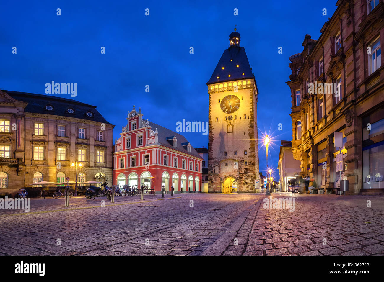 Old Gate (Altpoertel) - medieval west city gate of Speyer, Germany. One of the largest (55 metres high) and most architecturally significant of the re - Stock Image