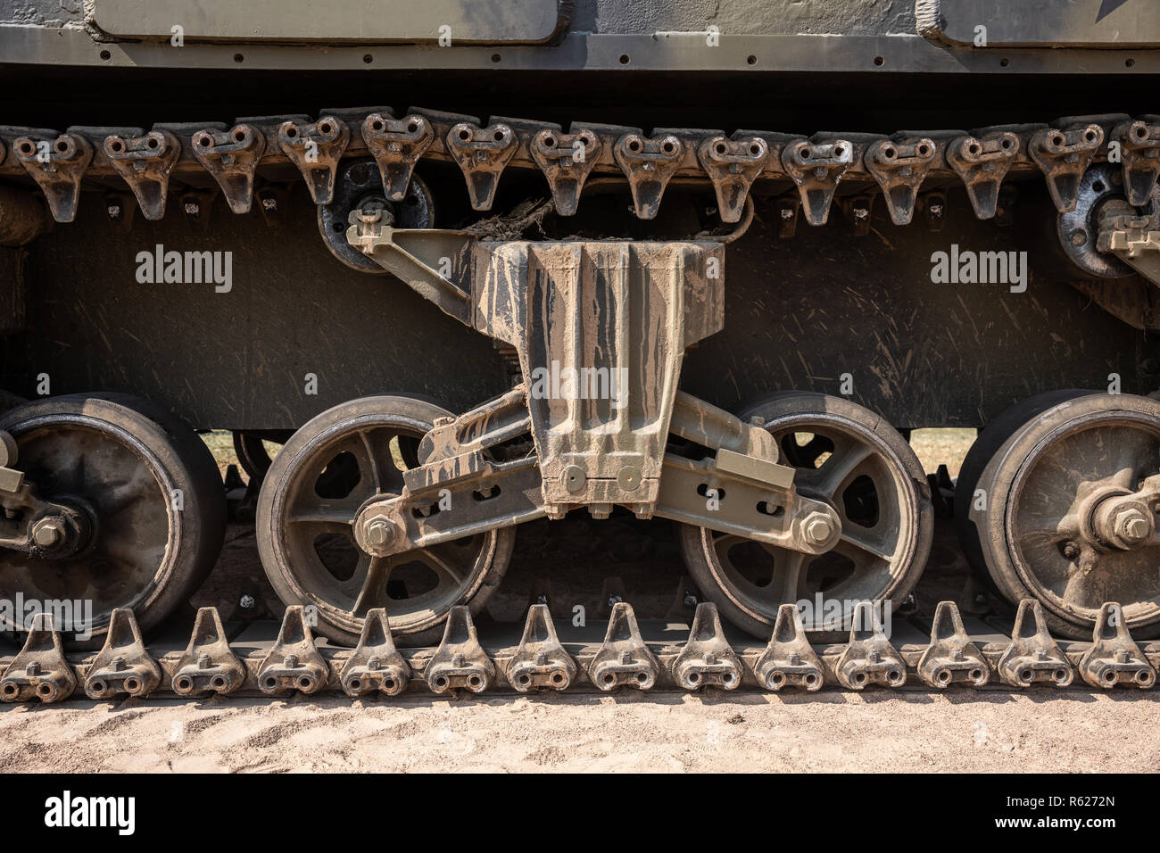 Continuous track from a green military tank of the World War II - Stock Image