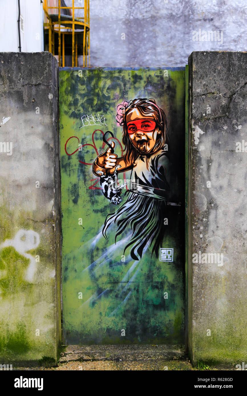Graffiti wall art in Quimper - Stock Image