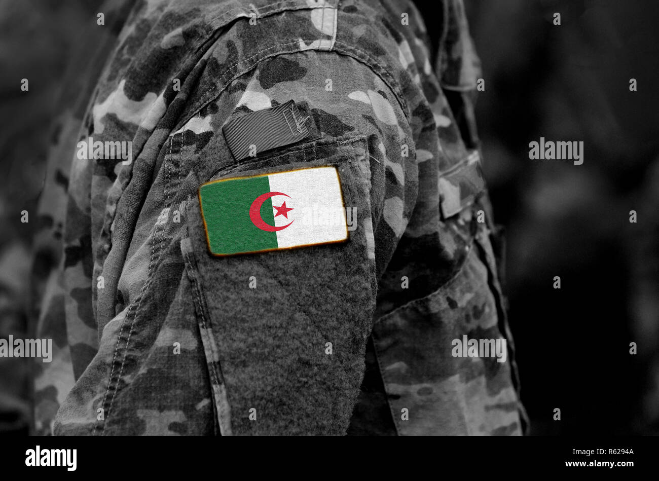 Flag of Algeria on soldiers arm (collage). - Stock Image
