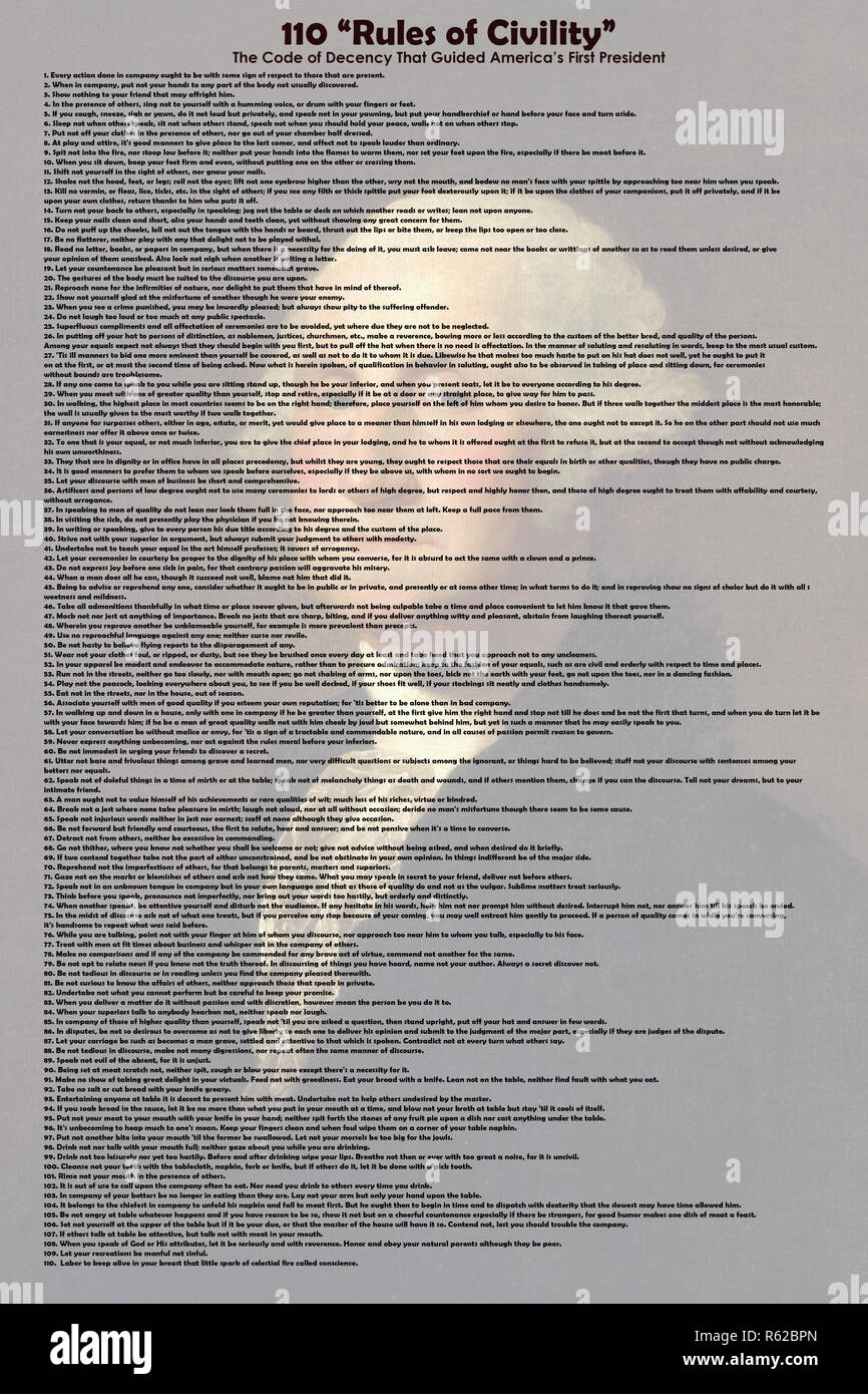 110 Rules of Civility -The Code of Decency That Guided America s First President v5.jpg - R62BXH - Stock Image