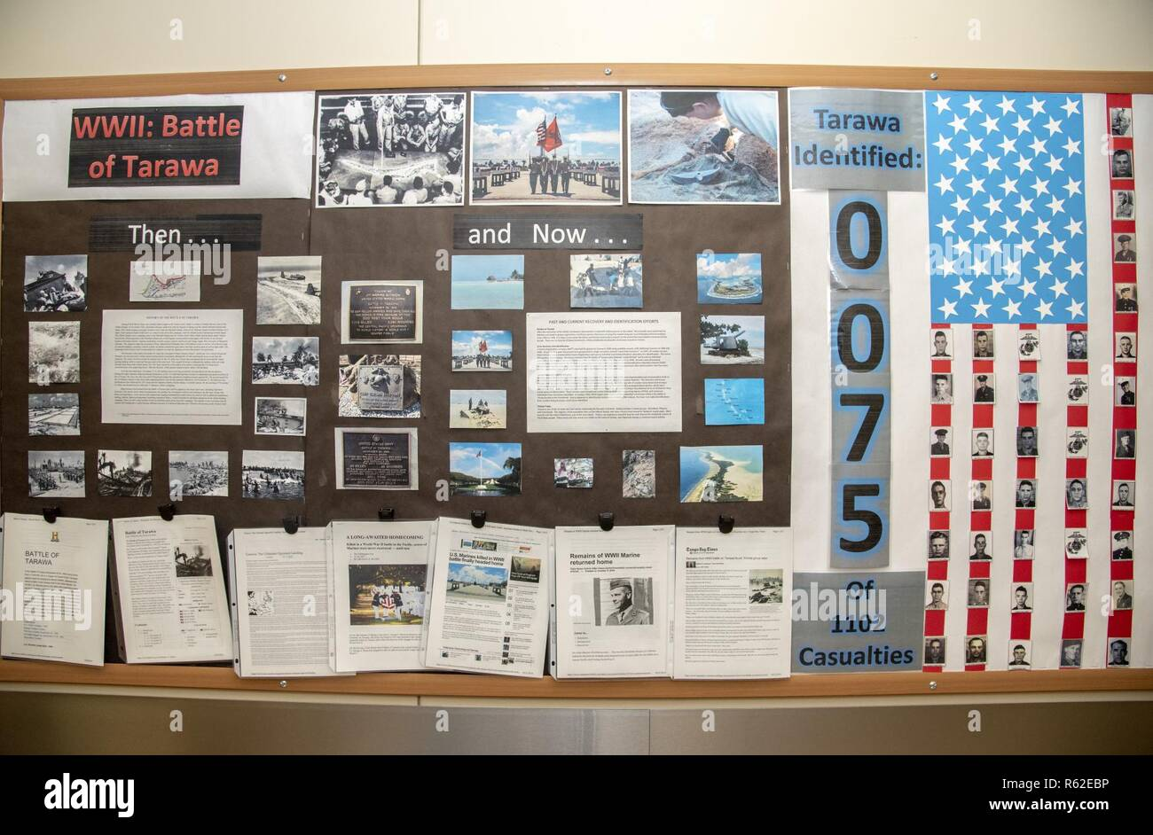 The Battle of Tarawa is displayed at the Armed Forces Medical Examiner System Department of Defense DNA Operations lab November 16, 2018, at Dover Air Force Base, Del. November 20-23 marks the 75th anniversary of the battle. AFMES along with the Defense POW/MIA Accounting Agency have worked through the years to identify 75 missing service members and reunite them with their families. - Stock Image
