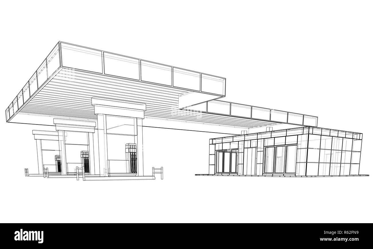 Gas Station. 3d illustration Stock Photo
