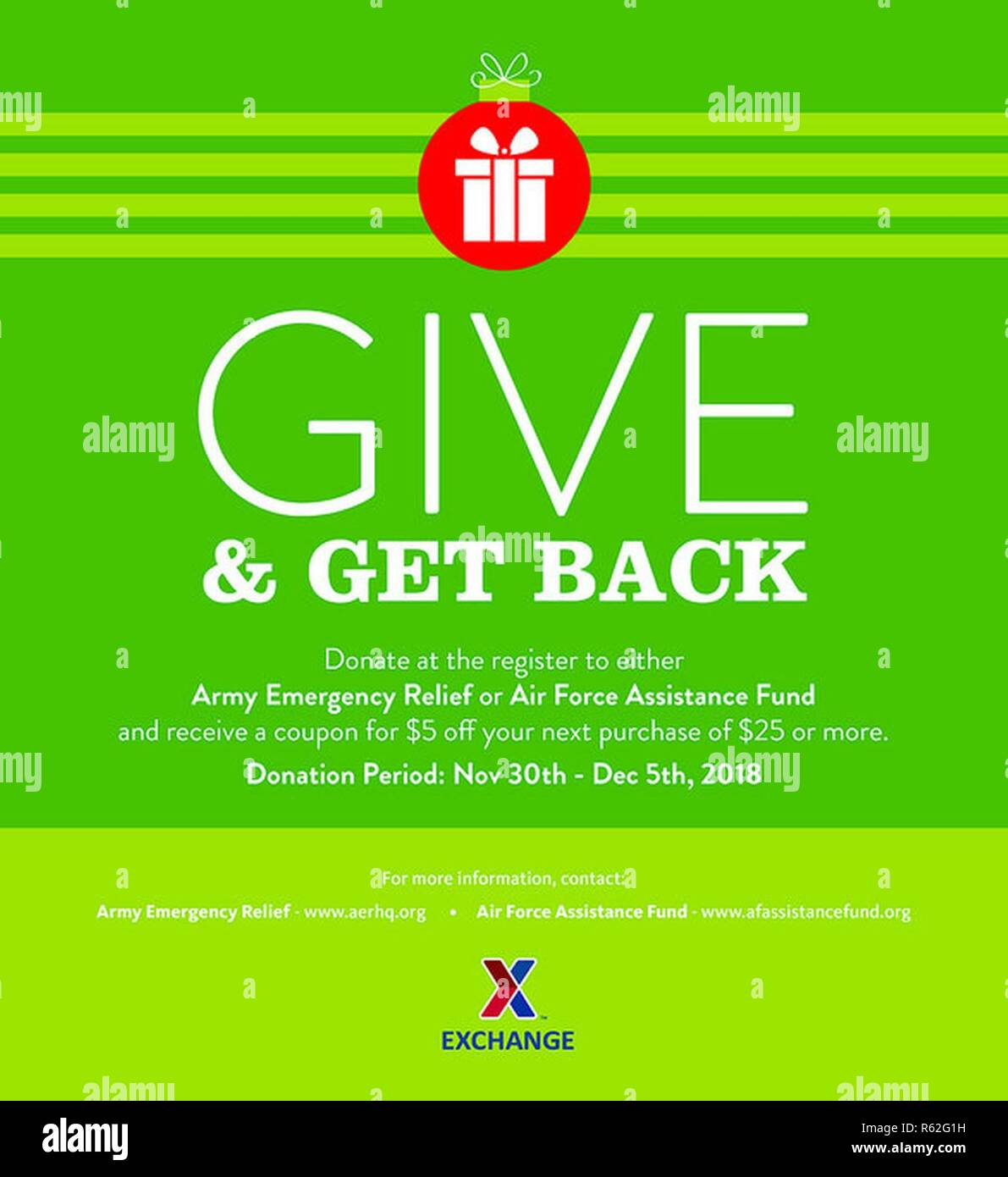 From Nov. 30 to Dec. 5, Exchange shoppers can make at-the-register donations to Army Emergency Relief (AER) and Air Force Assistance Fund (AFAF) and receive a coupon for $5 off a $25 Exchange purchase for every $5 donated. - Stock Image