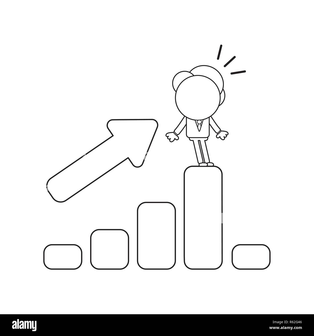 Vector illustration concept of businessman character standing on sales bar graph moving up and down. Black outline. - Stock Image