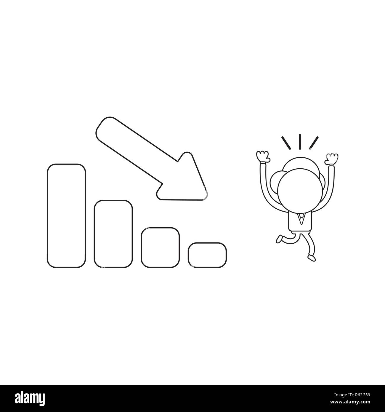 Vector illustration concept of businessman character running away fom sales bar graph moving down. Black outline. - Stock Image