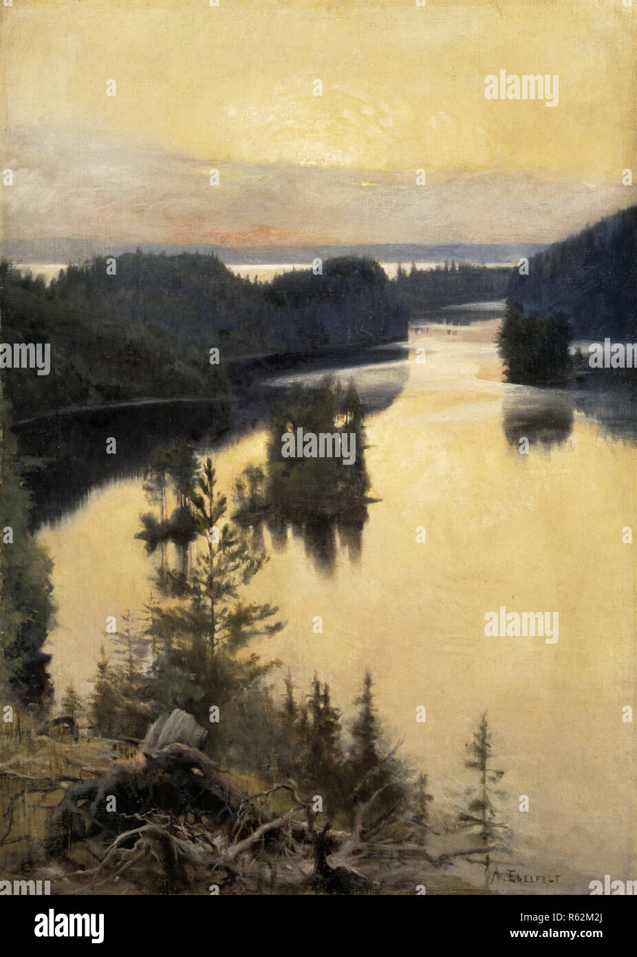 Kaukola Ridge at Sunset. Date/Period: 1889/1890. Painting. Oil on canvas. Width: 83 cm. Height: 116.5 cm (without frame). Author: Albert Edelfelt. Edelfelt, Albert Gustaf Aristides. Stock Photo