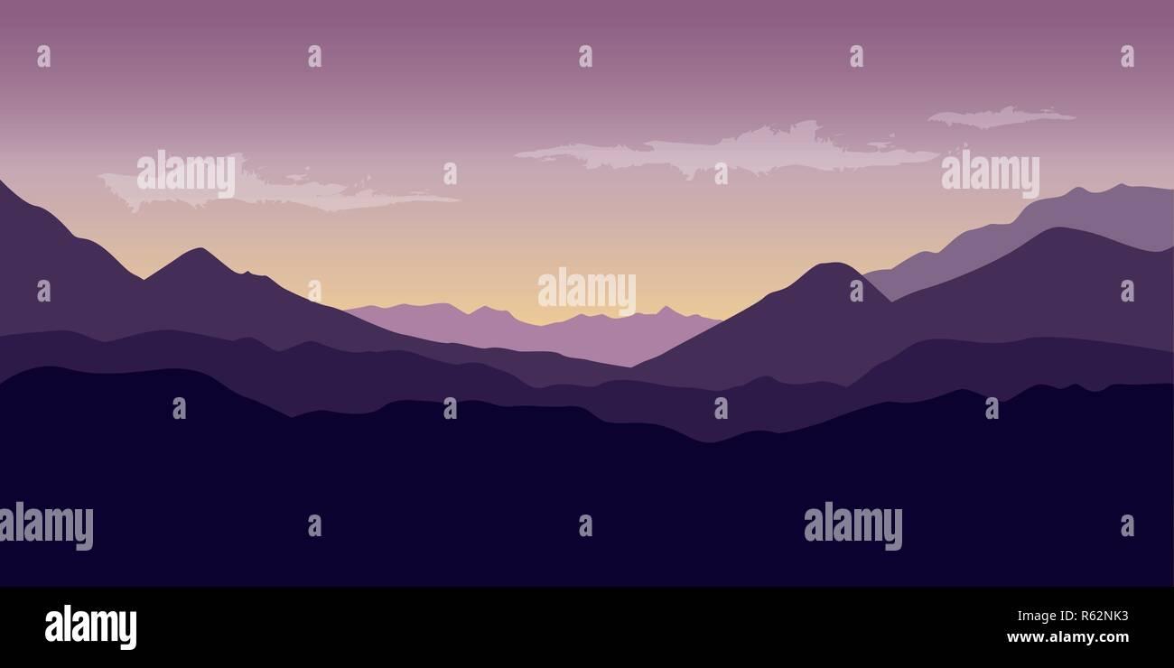 beautiful purple mountain wildlife nature landscape vector illustration EPS10 - Stock Vector