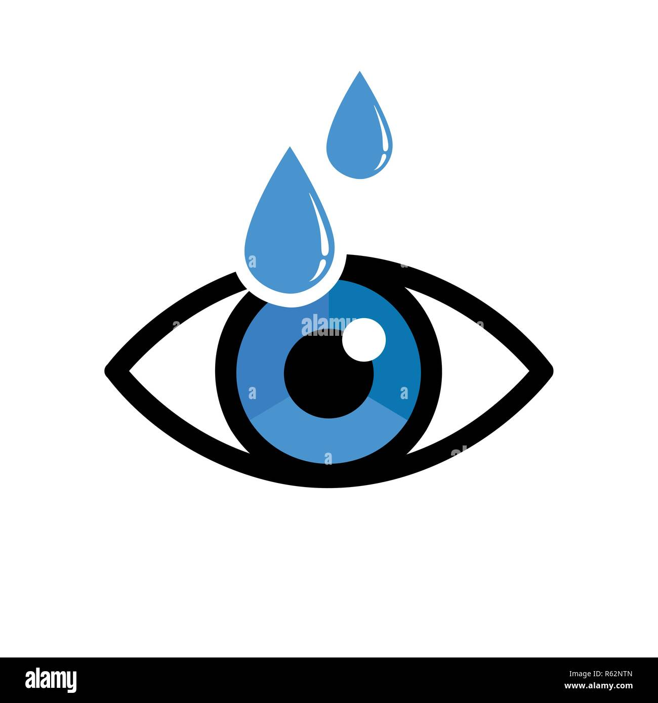 eye with eye drops ophthalmology icon isolated on white background vector illustration EPS10 - Stock Image