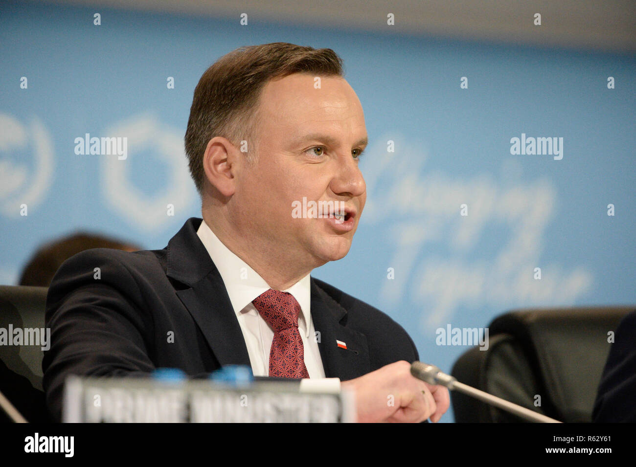 Katowice, Poland. 3rd Dec, 2018. Polish President Andrzej Duda addresses the UN Climate Change Conference in Katowice, Poland, Dec. 3, 2018. Delegates from nearly 200 countries began talks on Sunday on urgent actions to curb climate change three years after the landmark Paris Climate Change Agreement set a goal of keeping global warming below 2 degrees Celsius. The two-week UN Climate Change Conference, known as COP24, is held in the southern Polish city of Katowice. Credit: Jaap Arriens/Xinhua/Alamy Live News - Stock Image