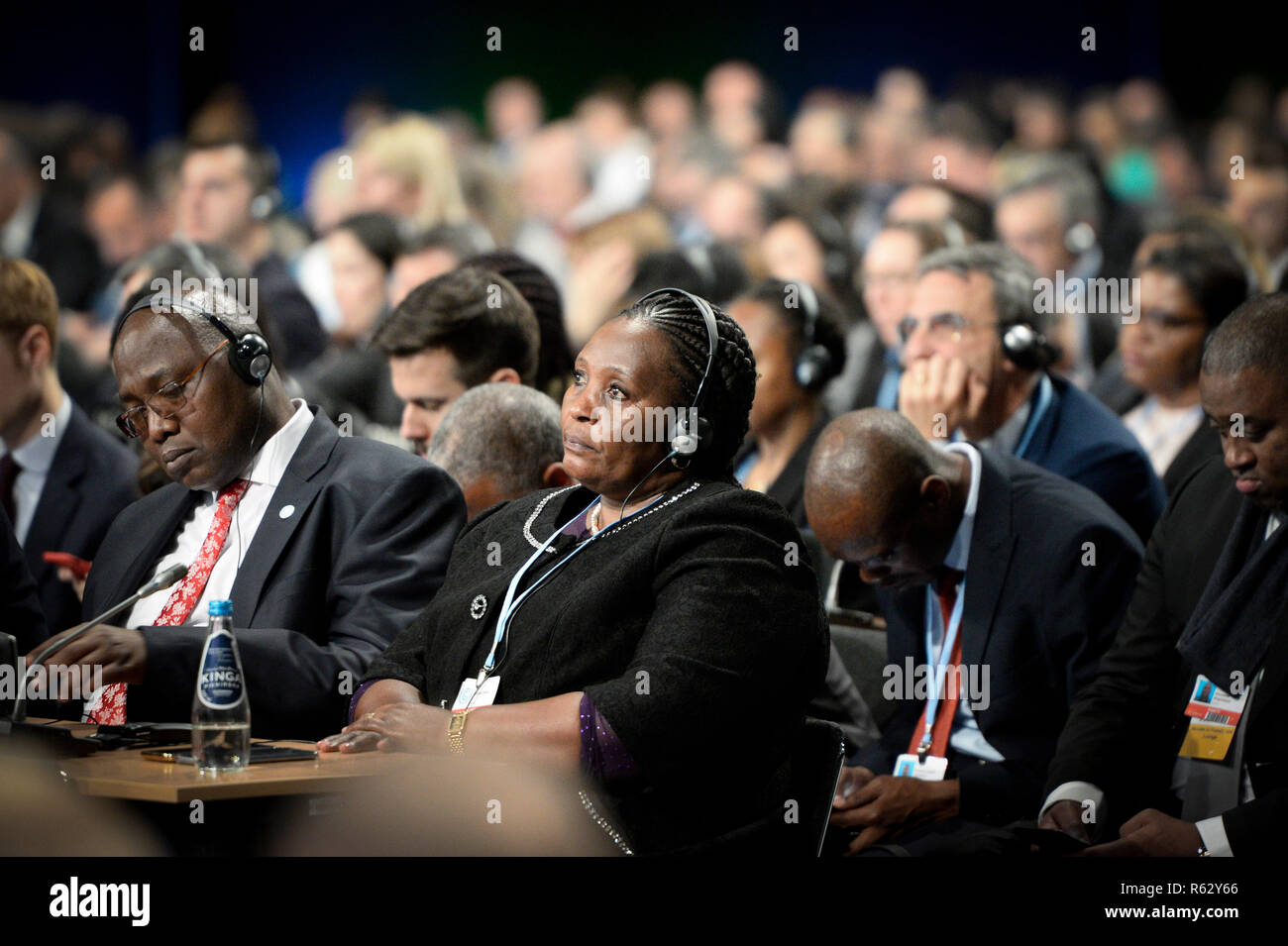 Katowice, Poland. 3rd Dec, 2018. Delegates attend the UN Climate Change Conference in Katowice, Poland, Dec. 3, 2018. Delegates from nearly 200 countries began talks on Sunday on urgent actions to curb climate change three years after the landmark Paris Climate Change Agreement set a goal of keeping global warming below 2 degrees Celsius. The two-week UN Climate Change Conference, known as COP24, is held in the southern Polish city of Katowice. Credit: Jaap Arriens/Xinhua/Alamy Live News - Stock Image
