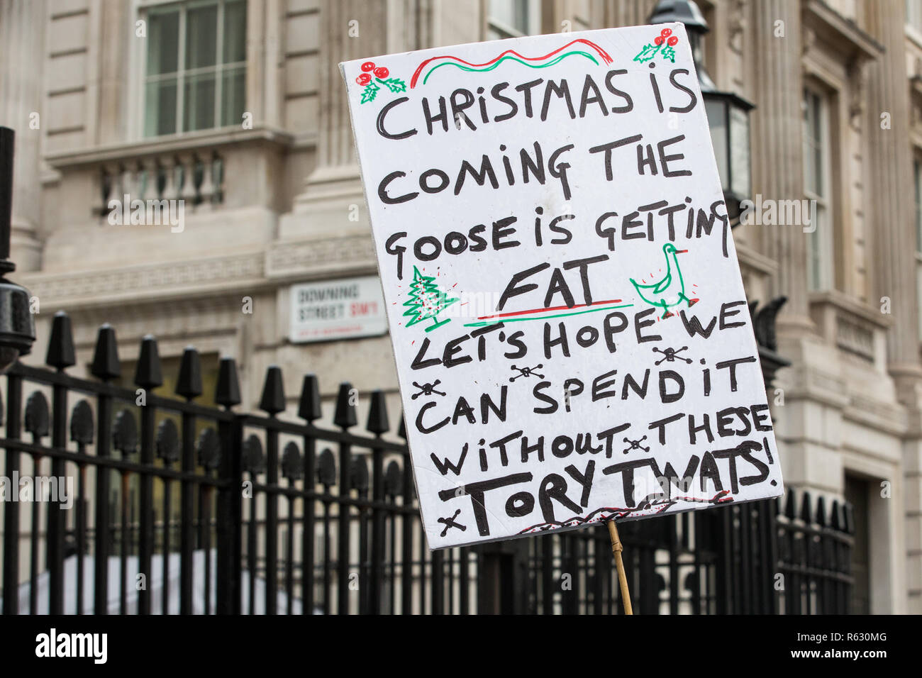 London, UK. 3rd December, 2018. A placard held by a pro-EU campaigner outside Downing Street. Credit: Mark Kerrison/Alamy Live News - Stock Image