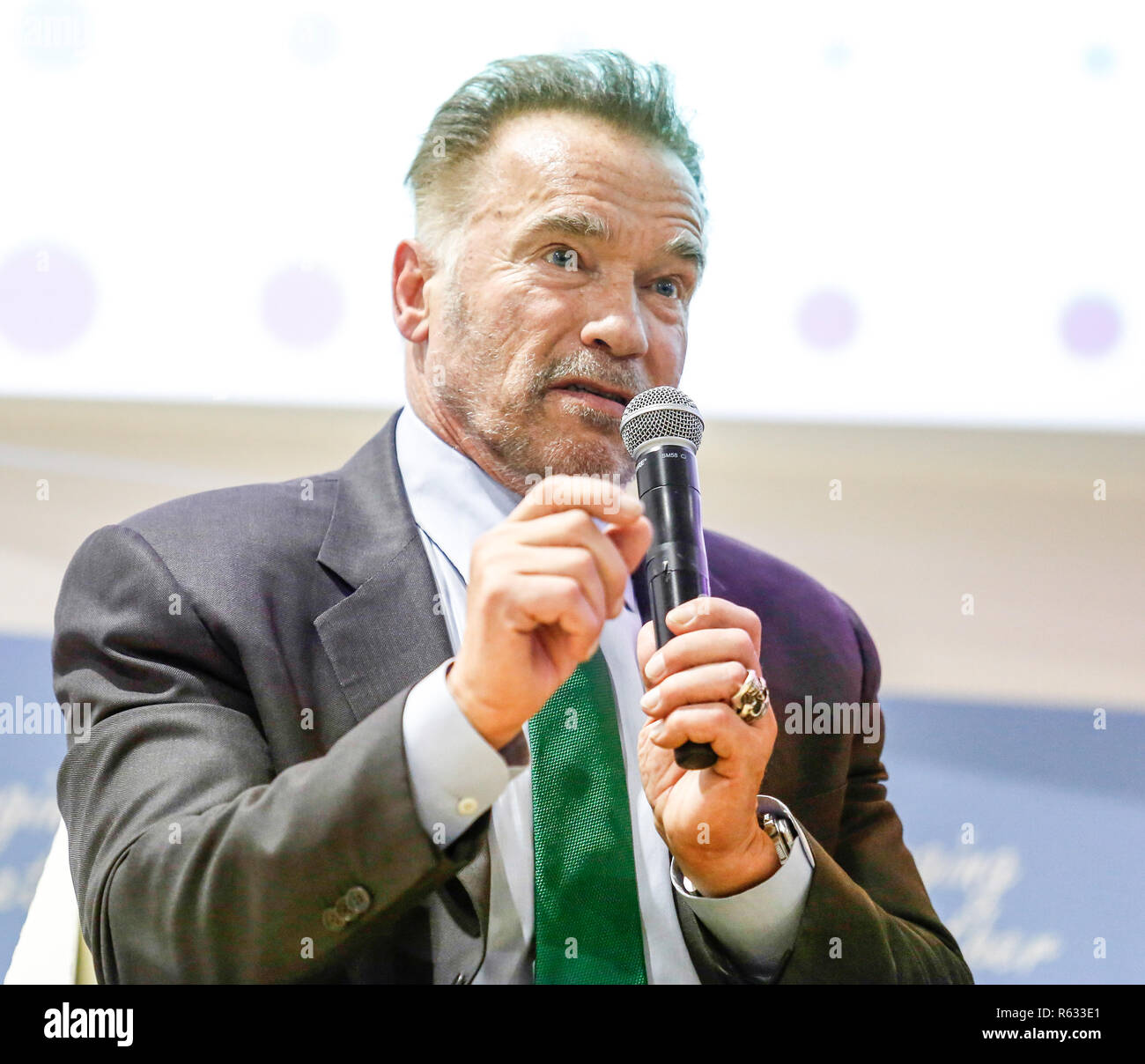 Katowice, Poland. 3rd December, 2018. Arnold Schwarzenegger, USC Schwarzenegger Institute Chair and ex-Governor of California during the Action Hub Opening panel at the COP24 Katowice, Poland on the 3rd of December 2018. COP24 is organized by UN Framework Convention for Climate Change (UNFCCC). Credit: Michal Busko/Alamy Live News - Stock Image