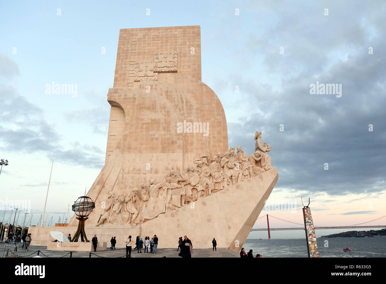 (181203) -- LISBON, Dec. 3, 2018 (Xinhua) -- Photo taken on Nov. 23, 2018 shows the Monument to the Discoveries on the Lisbon waterfront in Portugal. (Xinhua/Zhang Liyun)(mp) - Stock Image