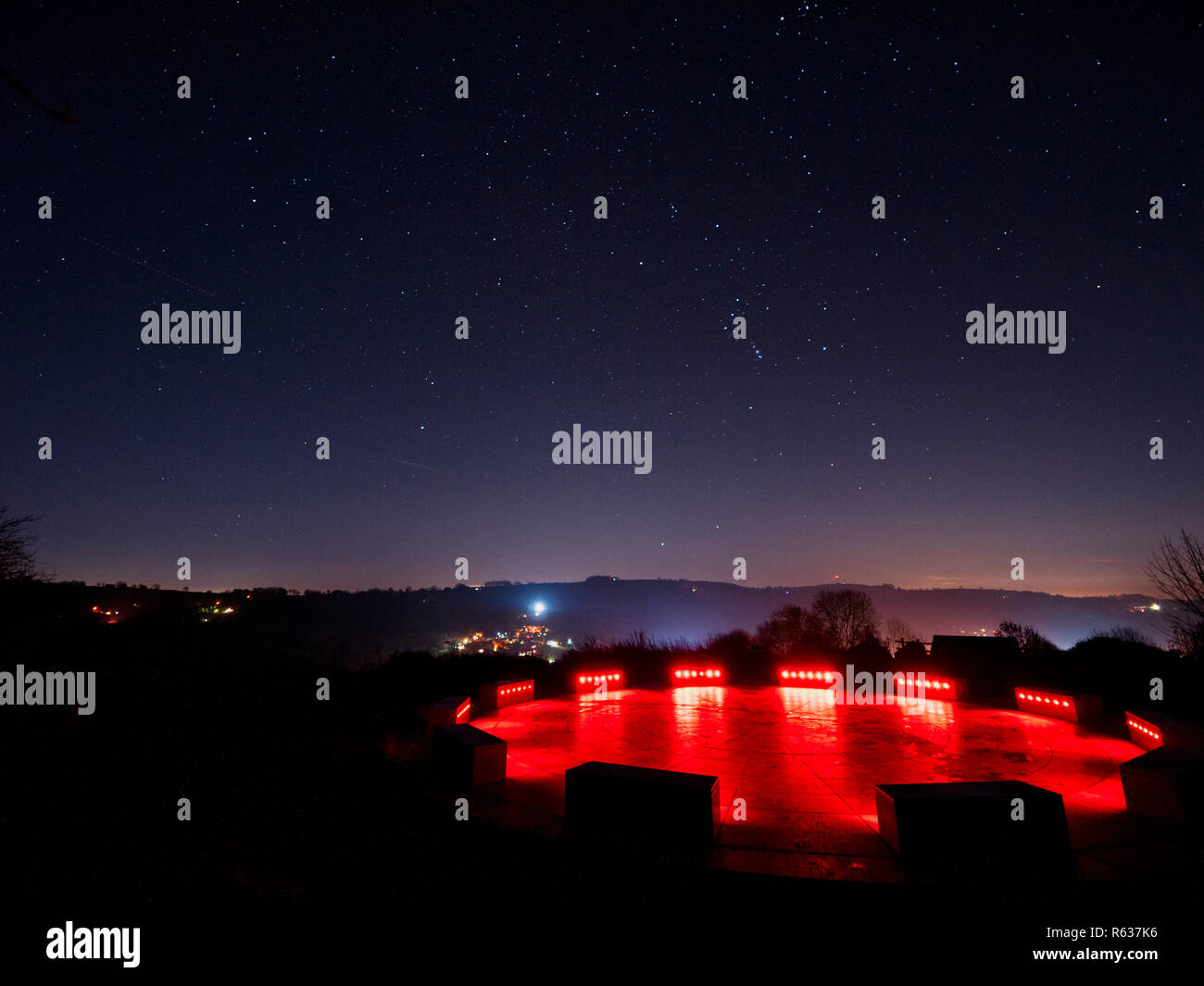 Wirksworth, UK. 03rd Dec, 2018. UK Weather: clear cold starry night at the star disc above Wirksworth in the Derbyshire Dales, Peak District National Park Credit: Doug Blane/Alamy Live News Stock Photo