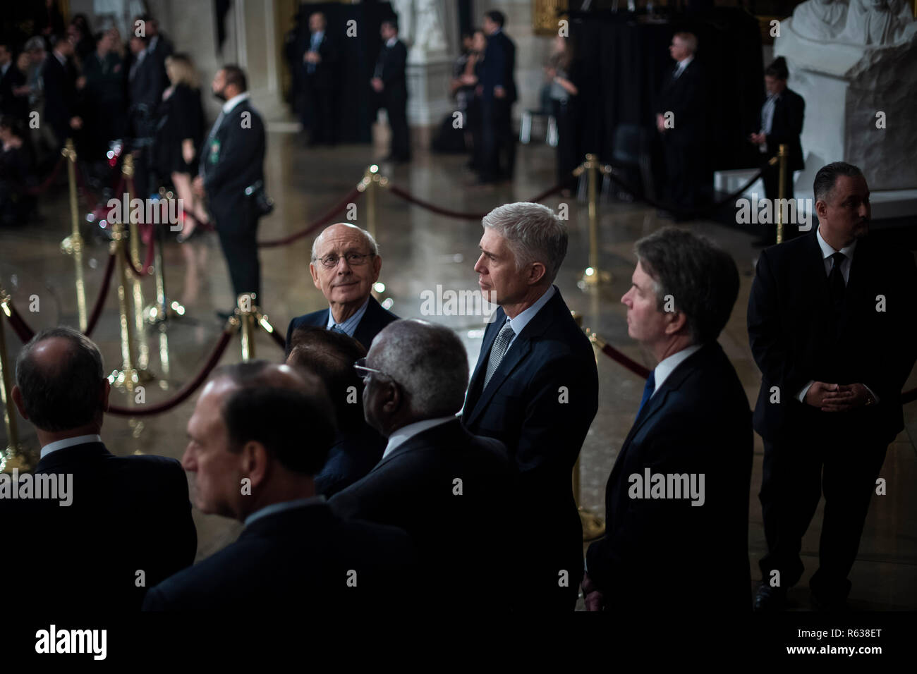 Washington, DC. 03rd Dec, 2018. WASHINGTON, DC - DECEMBER 3 : Supreme Court Associate Justice Stephen Breyer, Associate Justice Neil M. Gorsuch, and Associate Justice Brett M. Kavanaugh wait for the arrival of Former president George H.W. Bush to lie in State at the U.S. Capitol Rotunda on Capitol Hill on Monday, Dec. 03, 2018 in Washington, DC. (Photo by Jabin Botsford/Pool) | usage worldwide Credit: dpa/Alamy Live News - Stock Image