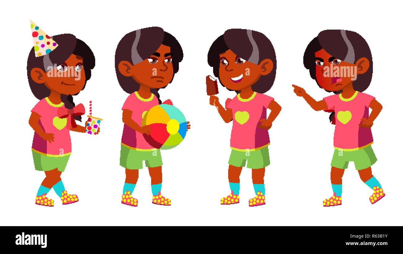 Girl Kindergarten Kid Poses Set Vector. Indian, Hindu. Asian. Pretty Positive Baby. Leisure. Playground. For Postcard, Announcement, Cover Design.Isolated Cartoon Illustration - Stock Image