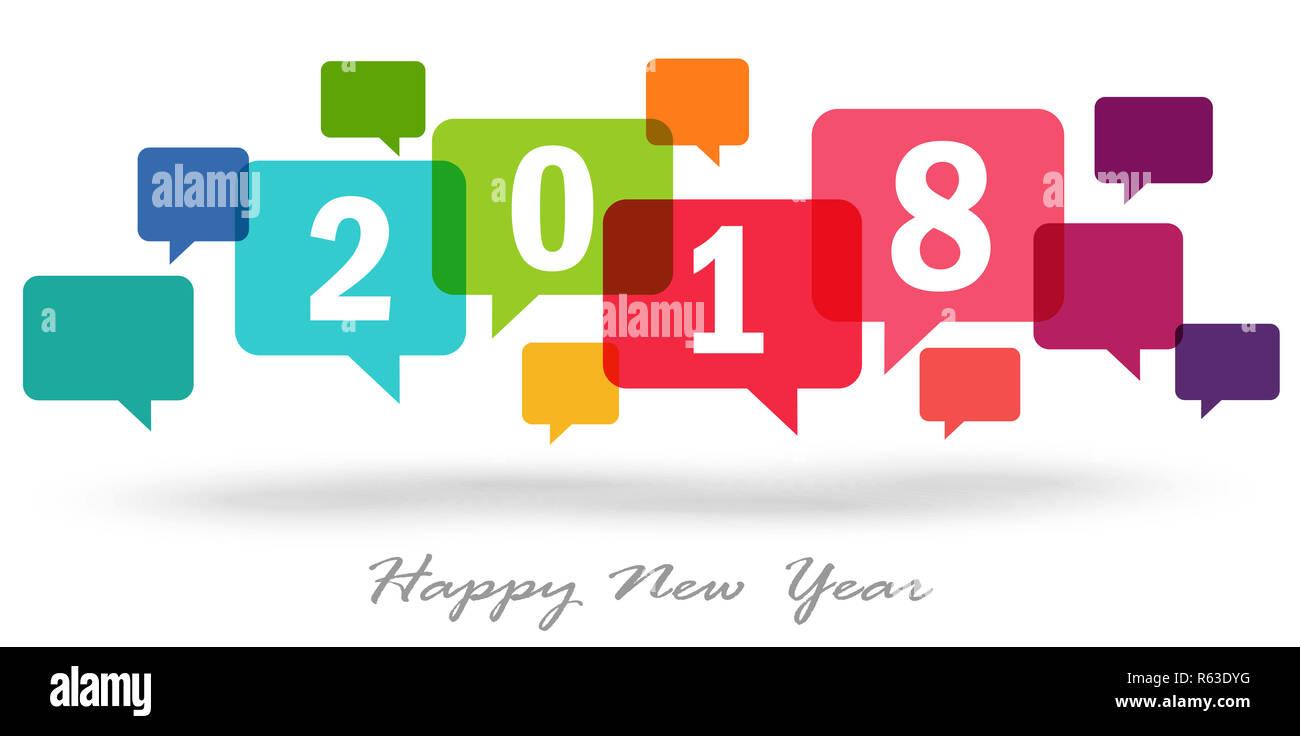 new year 2018 speech bubbles Stock Photo