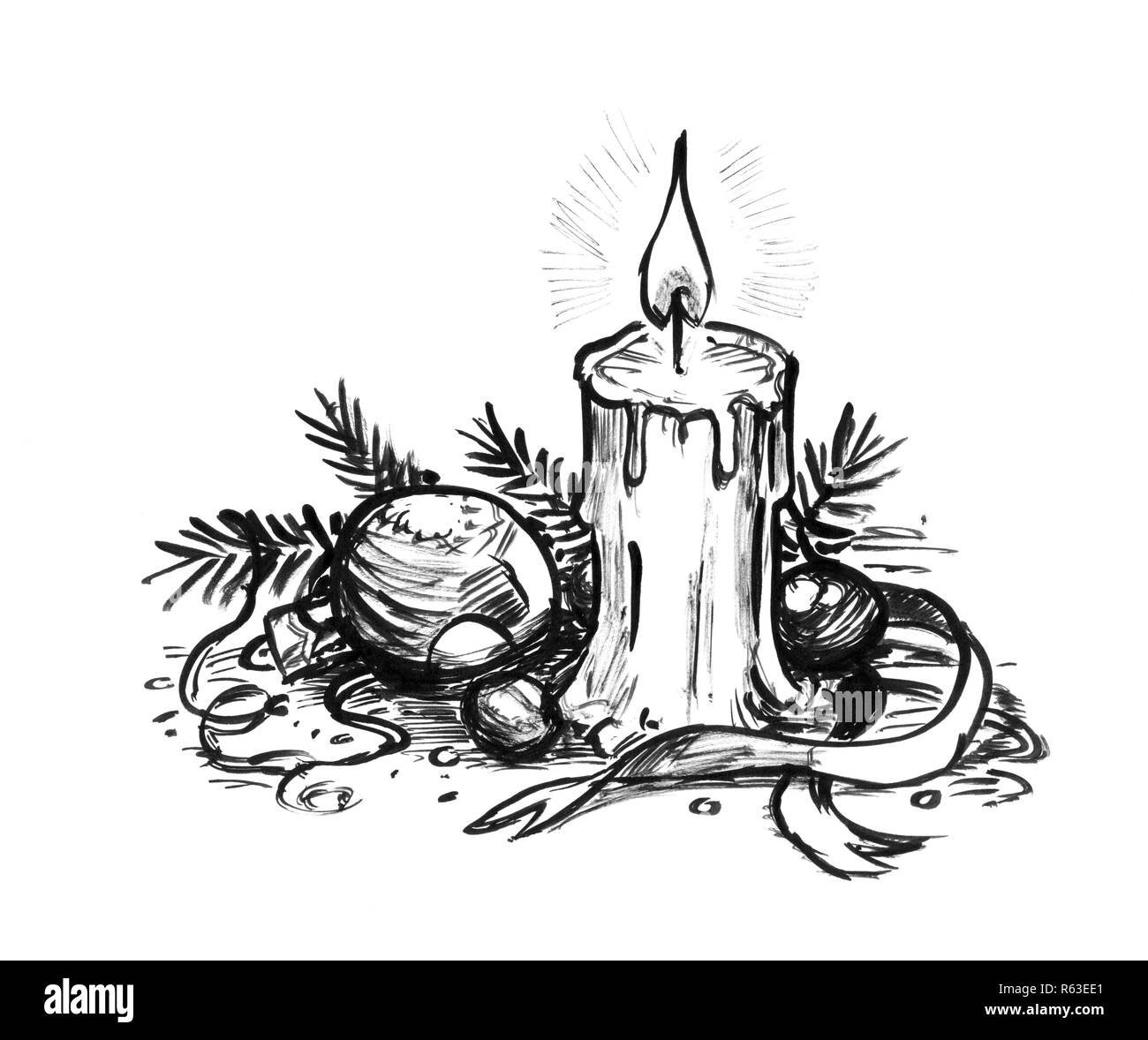Drawings Of Christmas Decorations.Black Ink Hand Drawing Of Burning Candle And Christmas