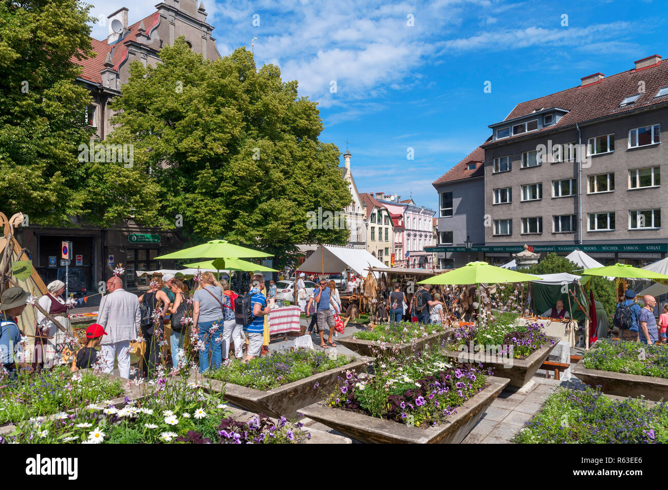 Market stalls on Niguliste at the July 2018 Medieval Days Festival in the historic Old Town, Tallinn, Estonia Stock Photo