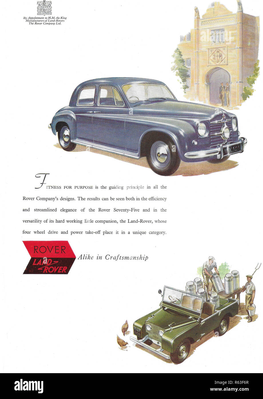 Rover car Land-Rover vehicle alike in craftsmanship advert advertising in Country Life magazine UK 1951 - Stock Image