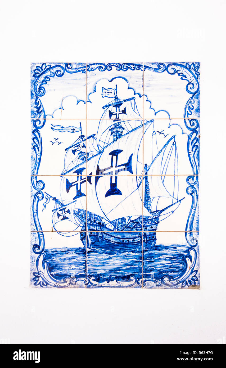 traditional azulejo tile painting showing a caravel - Stock Image