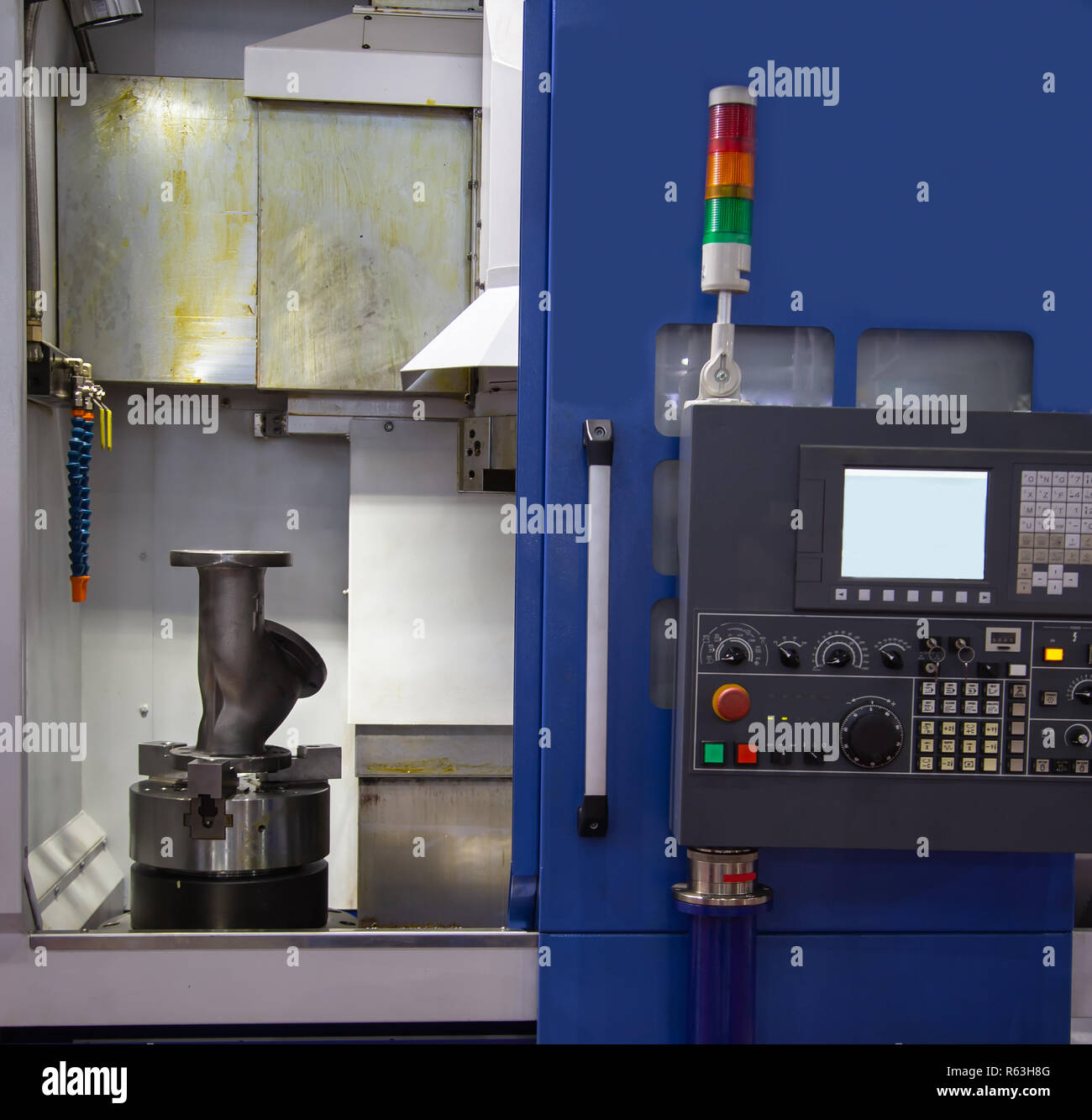 Vertical CNC Lathe machine, industrial machining - Stock Image