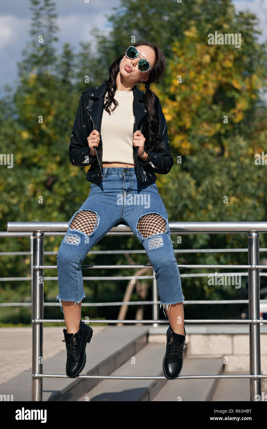 Fashionable Young Woman In Rock Style Clothes Black Leather Jacket