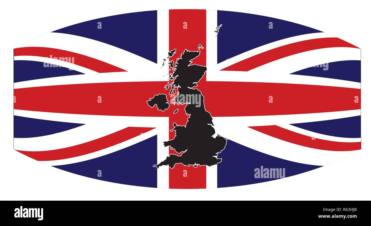 A silhouette of the United Kingdom set over a union flag warped - Stock Image