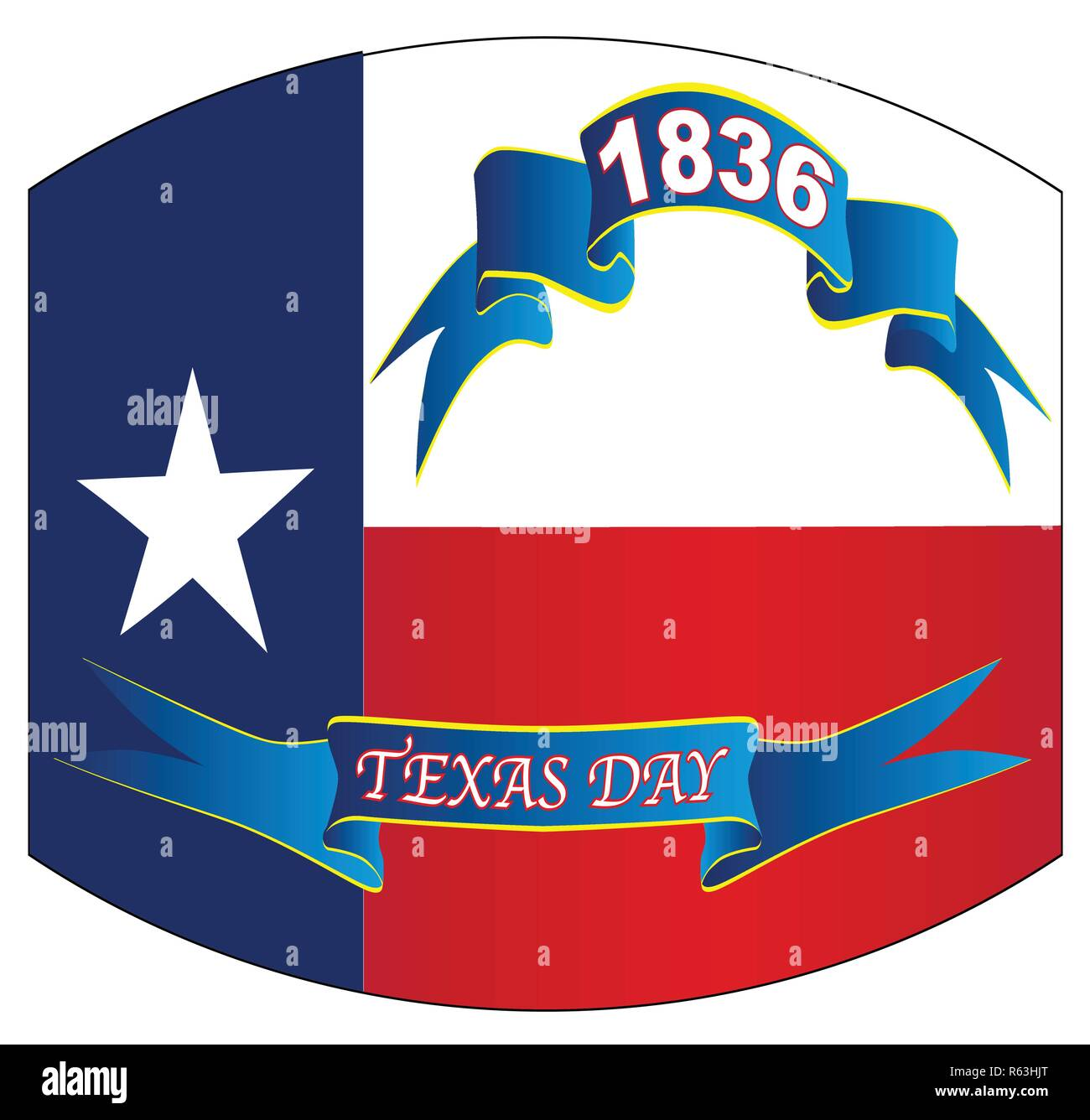 The flag of the USA state of TEXAS with ribbons and txt for Texas Day 1936 with warped out look - Stock Image