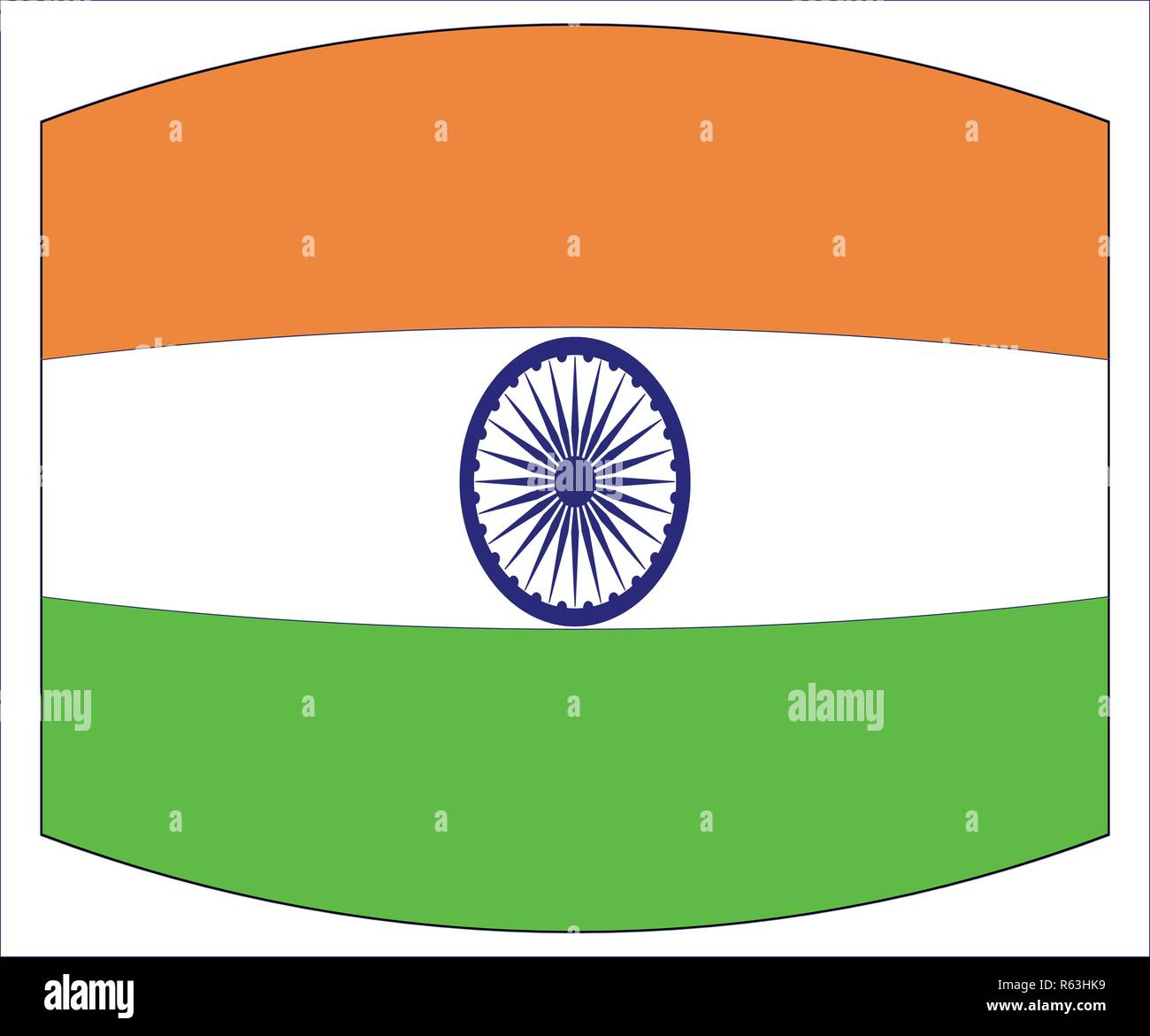 The flag of India in white green and orange with a warped out look - Stock Image