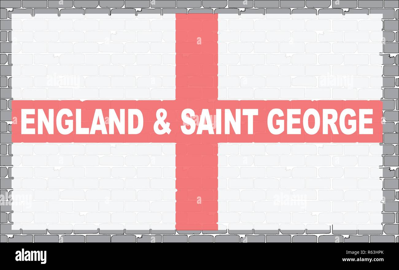 A section of brick wall as a background to the flag of Saint George of England - Stock Vector