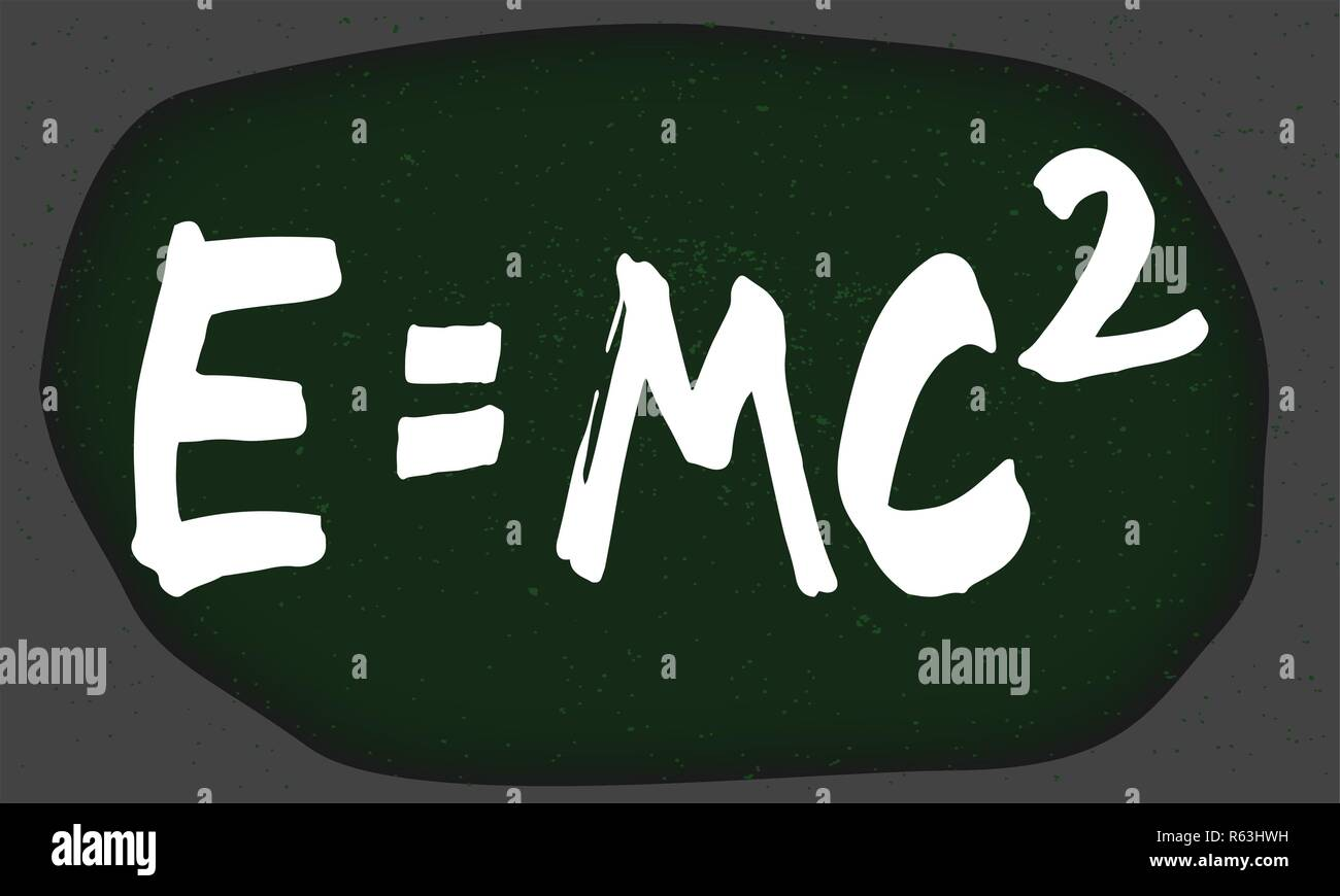 Theory Of Relativity in white chalk on a Blackboard with signs of wear Stock Vector